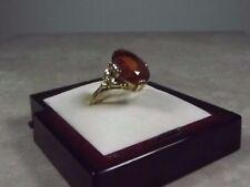 D15-16/ antiker Ring in 585 Gelbgold orangebrauner Stein aufwendig Gr. ca. 50