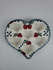 New listing Chaparral Stoneware Heart Shaped Muffin Dish Decorated With Apples 6 Muffins