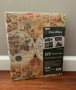 PIONEER 100 Fast- Stick Pages Magnetic Photo Album World Map Travel New & Sealed