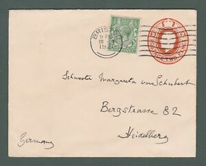 1921 GB - GV uprated 2d stationery envelope from Bristol to Germany (P765)