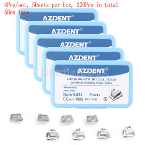 5X Dental Ortho BuccalTube 2stMolarBondableMonoblockNon-Con Single Roth.022