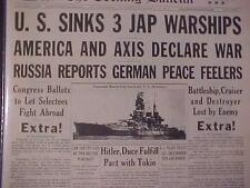 VINTAGE NEWSPAPER HEADLINE~WORLD WAR 2 US NAVY SINKS 3 JAPANESE BATTLESHIPS WWII