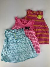Carters Baby Girl 3 Month Sleeveless Dress Lot Of 3 Bright Colors