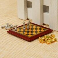 Puppenhaus Miniatur Vintage Silber Gold Schachspiel ^ 1 Scale Pretend 12th U9Z6