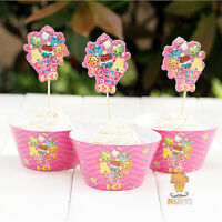12 Shopkins Cupcake Toppers+12 Wrappers Birthday Party Decoration