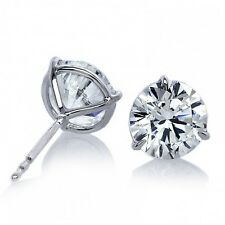0.50CT ROUND SOLITAIRE STUD EARRING 14K WHITE GOLD WOMEN'S EARRING DIAMOND STUDS