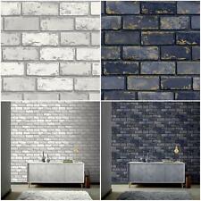Arthouse 3D Effect Metallic Brick Wallpaper Navy Blue Gold White Silver Stone