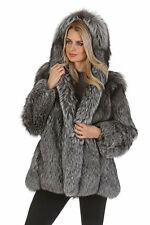 Womens Genuine Full Pelted Real Silver Fox Fur Coat Jacket Hooded Parka