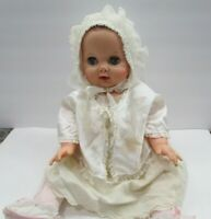 "Vintage UNEEDA Baby Doll Rubber Squeaker Blue Sleep Eyes Molded Hair 18"""
