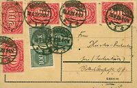 Germany 1923 Aug inflation postal card 4000m internal rate mixed franking  Used