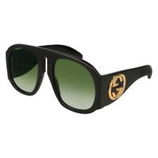 New! Gucci Oversized Runway Sunglasses Black Green Gradient Lens GG0152S 002