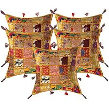 Bohemian Lounge Sofa Cushion Covers 17x17 Embroidered Patchwork Pillow Cases