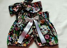 Beautiful Summer Skull Print  Baby's Bloomer and headwrap set girls clothes New