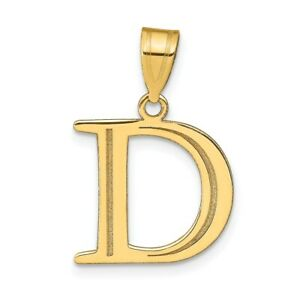 14K Yellow Gold Polished Etched Letter D Initial Pendant