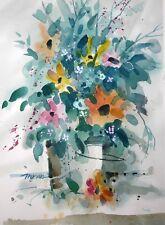 """""""WILDFLOWERS""""  original watercolor by American artist Micheal Jones #1821"""