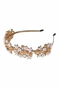 Morgan & Taylor Aura Golden Headband with White Enamel Flowers