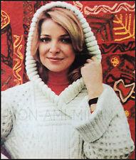 """Knitting Pattern • Ladies Aran Hooded Tunic Sweater Jumper Top • Hoodie • 32-42"""""""