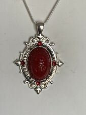 HANDCRAFTED VTG. GERMAN ETCHED RUBY GLASS  SCARAB EGYPT REVIVAL NECKLACE-silver