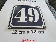 Hausnummer Nr. 49 weisse Zahl auf blauem Hintergrund 12 cm x 12 cm Emaille Neu