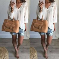 Zanzea Women V Neck Lace Crochet Pullover Long Sleeve Top Shirt Plus Size Blouse