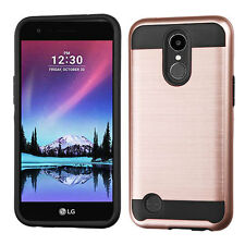 For LG K20 Plus Brushed Metal HYBRID Rubber Case Phone Cover Accessory