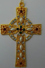 Großer Kreuz Anhänger Strass Kunst-Perlen cross Pendant Pendentif Croix