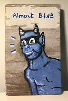 Almost Blue Jazz Devil Mask vintage wood folk pop lowbrow outsider art painting