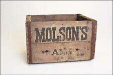Vintage MOLSON'S ALE WOOD CRATE shipping box beer lager brewery chest canadian