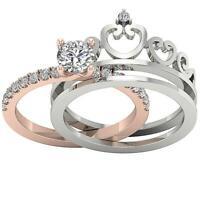 Crown Bridal Ring Set I1 G 1.30 Ct Real Round Diamond 14K Two-Tone Gold