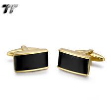 Fashion MENS TT 18K Gold GP Stainless Steel Cufflinks CU56J NEW