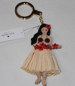 💚 Kate Spade Hula Girl Grass Skirt Key Chain Bag Charm fob Hawaii Exclusive NWT