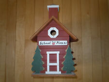 Hand Painted School House Wooden Birdhouse. Hanging or Table Top. Indoor/Out
