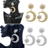 Women Boho Crystal Star Crescent Moon Drop Dangle Stud Earrings Jewelry Gift