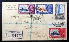BARBADOS 1935 Silver Jubilee (4) on Registered Cover to England NC45