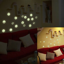 Glow In The Dark Luminous Fluorescent PVC Wall Stickers Emoji Face Decal new.