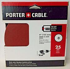 """Porter Cable 736001825 6"""" Hook & Loop No Hole 180 Grit Sandpaper 25 Pack"""