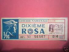 LOTERIE NATIONALE DIXIEME ROSA 38° TRANCHE 1958