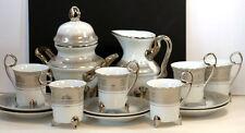 Footed Demitasse Etruscan White Silver Pattern China Tea Espresso Coffee Set