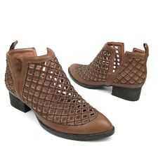 Jeffrey Campbell Brown Perforated Leather Taggart Ankle Booties Women's Size 8