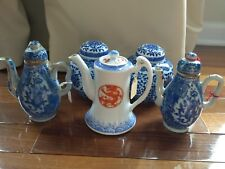 Chinese Porcelain Teapots One Qing/Ching Dynaster Red Dragon, Set of Two Blue