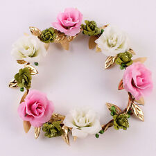Wedding Girl Hairband Baby Headband Flowers Garland Gold Leaves Crown Wreath