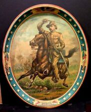 Spectacular Antique Teddy Roosevelt Rough Riders Spanish American War Beer Tray