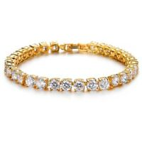 Gold Plated Cubic Zirconia Tennis Bracelet 6 MM Round White CZ 8.5 inch