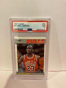 1987 Fleer Michael Jordan Chicago Bulls HOF Basketball Card PSA NM 7 #59