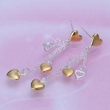 Damen Ohrring Ohrhänger Herze / Gold Ohrstecker pl. mit Sterlingsilber DO069