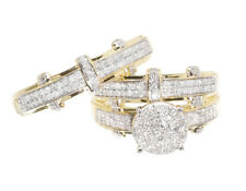 10K Yellow Gold Round Pave Diamond Engagement Bridal Wedding Ring Trio Set .85ct