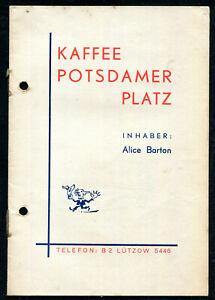 "1935-1940 Berlin Speisekarte Kaffee Potsdammer Platz. Speisekarte ""Alice Barton"""