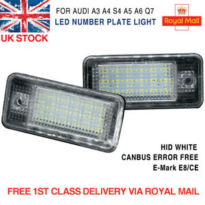 2x For Audi A3 A4 A6 A8 2004-2012 Xenon LED License Number Plate Light Lamp UK