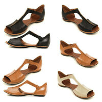 Womens Solid Color Peeptoe T-Strap Sandals Slip On Casual Flats Shoes Size 6-9.5