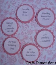 SCALLOPED CIRCLE PERSONALISED WORD SENTIMENTS FOR CARD TOPPERS - CHOOSE YOUR OWN